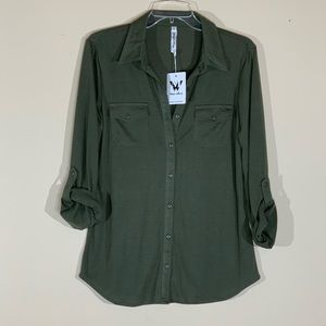 White Mark Olive Green Long Sleeve Button Up - S